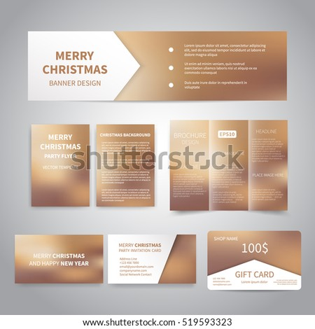 Merry Christmas Banner, flyers, brochure, cards, gift card design templates set on beige background. Merry Christmas and Happy New Year party invitation and promotion printing