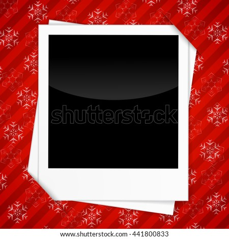 Merry Christmas Card Templates With Blank Photo Frames On Red Background.  Christmas Festive Background With