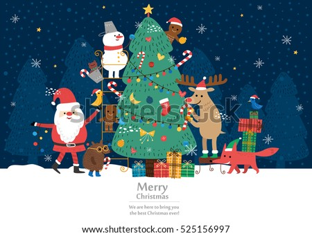 Merry Christmas card. vector illustration background