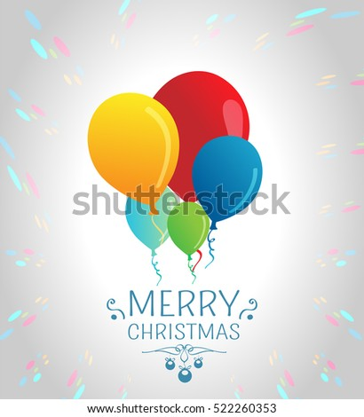 Merry Christmas card with air balloons