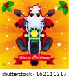 Merry Christmas card with biker Santa in vector - stock