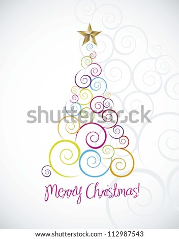 merry christmas card with tree over gray background. vector