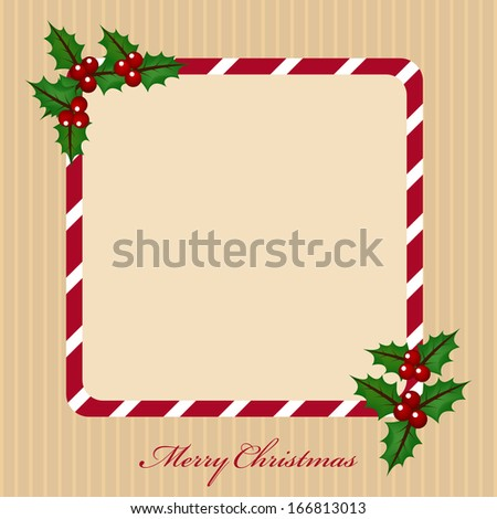 Merry Christmas celebration greeting card or invitation card with mistletoe decorated frame and space for your message on vintage background.