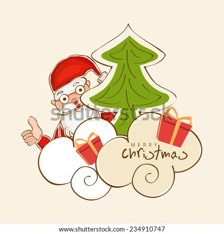 Merry Christmas celebrations with Santa Claus showing thumbs up , X-mas Tree and gifts on beige background.