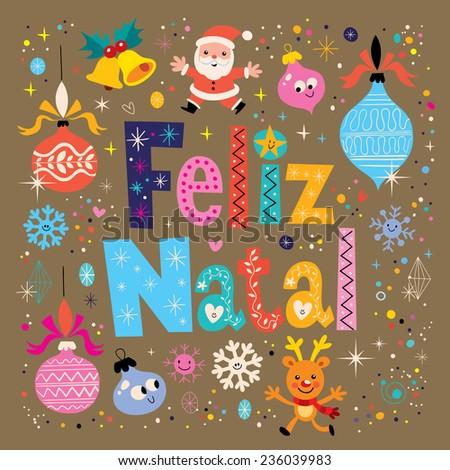 Merry Christmas Feliz Natal Portuguese Portuguese Vector – Portuguese Birthday Cards