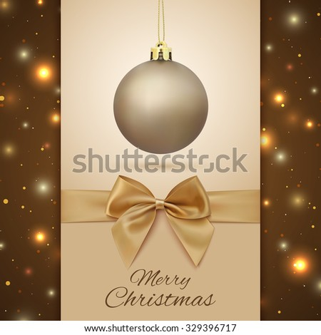 Merry Christmas greeting card. Christmas Tree decoration on background with particles. Golden Christmas ball. Vector illustration.
