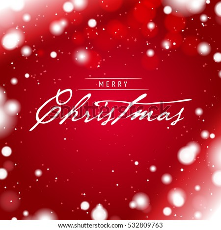 Merry Christmas Greeting Card with a Red Snowy Background