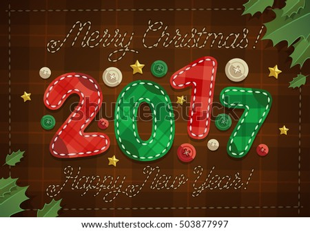 Merry Christmas greeting card with patchwork year number.