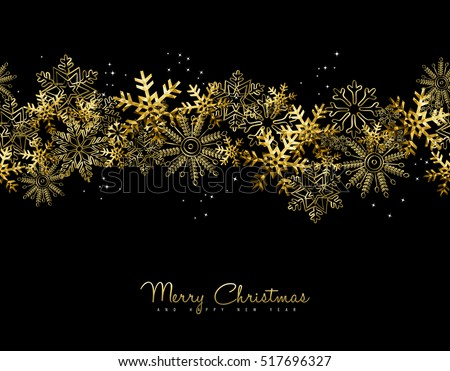 Merry Christmas Happy New Year greeting card design with gold snowflake decoration for holiday season. EPS10 vector.