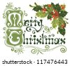 Merry Christmas, lettering in vintage style with holly berry - stock vector