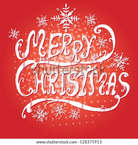 Merry Christmas line art design on red background-vector