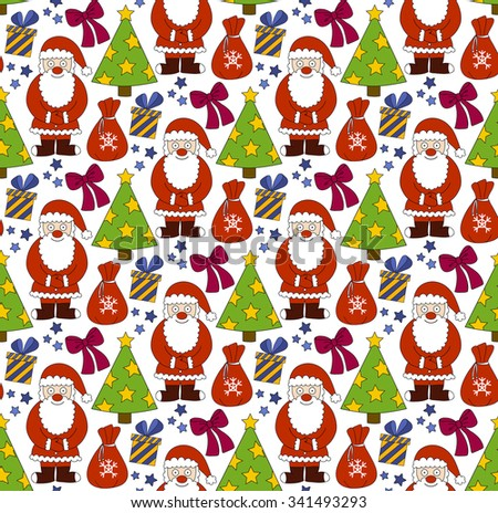 Merry Christmas pattern. New Year seamless background. Vector illustration
