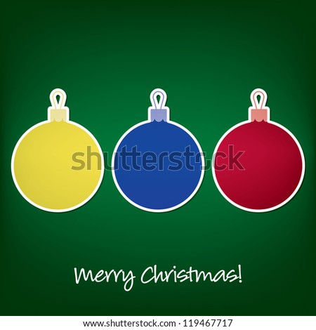 Merry Christmas sticker bauble card in vector format.