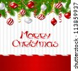 Merry Christmas vector background with glossy balls. - stock photo