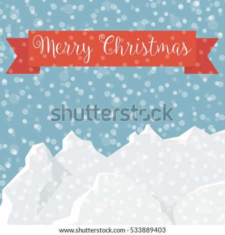 Merry Christmas! winter landscape with snow and mountains card - vector eps10