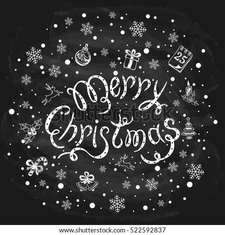 Merry Christmas with snowflakes and decorative elements on a black chalkboard, holiday lettering written in white chalk, illustration.
