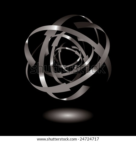 Metal ball with arrow rings and drop shadow