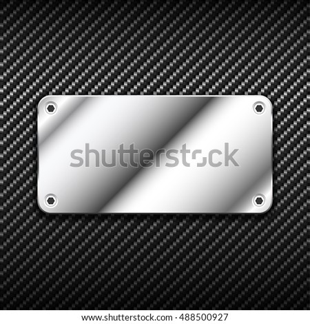 Metal banner on carbon background