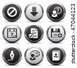Metal button with icon 2 - stock vector
