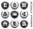 Metal button with icon 14 - stock vector
