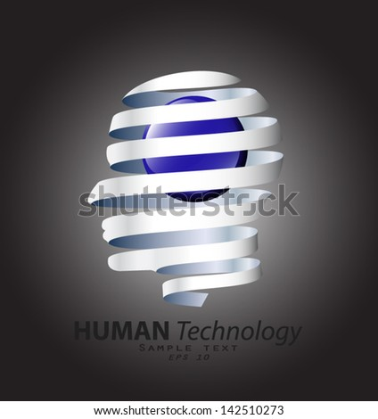 metal human head spiral with glossy blue ball/ technology symbol / vector illustration eps 10