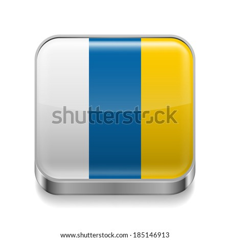 Metal square icon with flag colors of Canary Islands