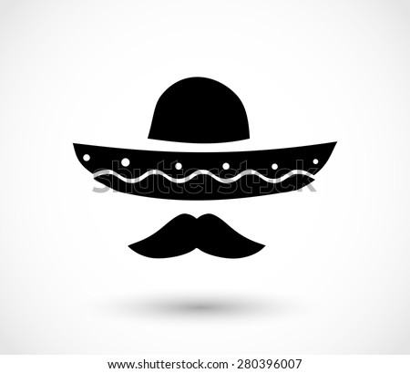 Mexican hat and mustache icon vector
