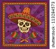 Mexican sugar skull cartoon - stock vector
