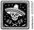 Mexican sugar skull cartoon. Vector version. - stock vector