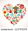 Mexico love - heart with set of vector illustrations - stock vector