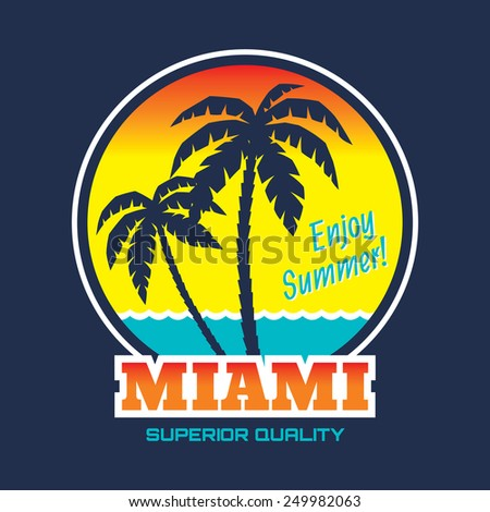 Miami - vector illustration in vintage graphic style for t-shirt and other print production. Palms, wave and sun creative logo badge. Summer vacation concept. Design elements.
