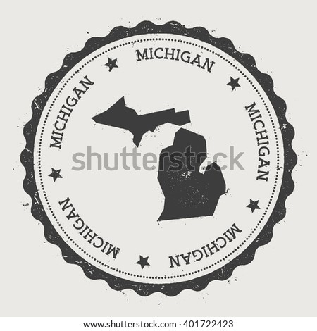 Michigan Vector Sticker Hipster Round Rubber Stamp With Us State Map Vintage Passport Stamp