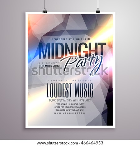 Colorful Party Flyer Musical Party Template Stock Vector