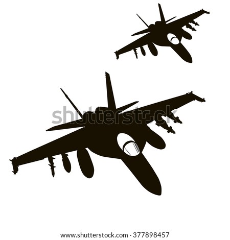 Military aircrafts flying. Vector silhouettes