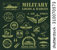 Military and armored vehicles logos and badges. Graphic template. Vector illustration - stock vector