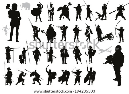 Military vectors. Ancient and modern soldiers. Detailed silhouettes collection