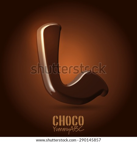 Milk chocolate retro curved glossy vector dark 3d typeset - capital L