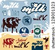 Milk labels set. Cow vector illustration. - stock vector