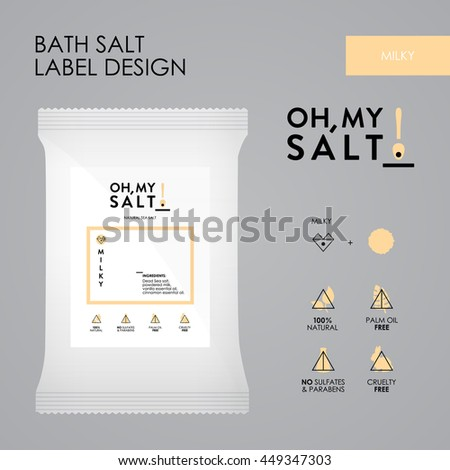 Coconut Bath Sea Salt Label Vector Vector 449342167 – Package Label Template