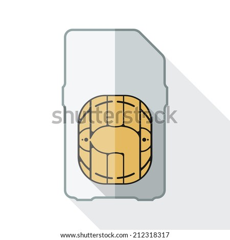 Mini sim card icon with long shadow on white background