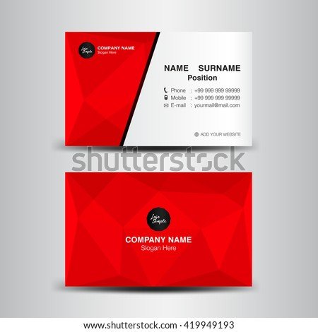 black red modern business card template stock vector 548365945
