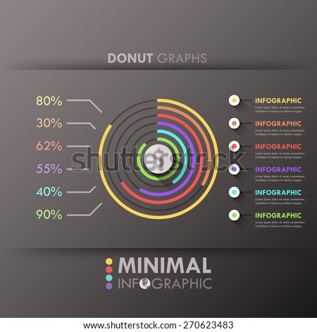 Minimal infographic options template with donut charts and circles for 6 options. Vector. Can be used for web design and  workflow layout