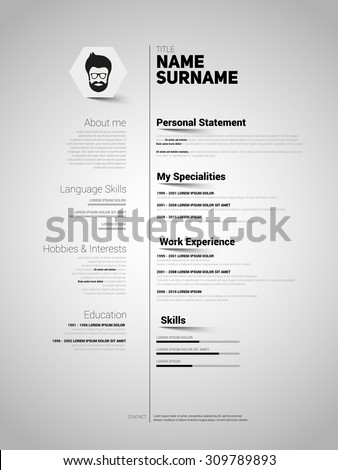 minimalist cv resume template with simple design vector - Minimalist Resume Template