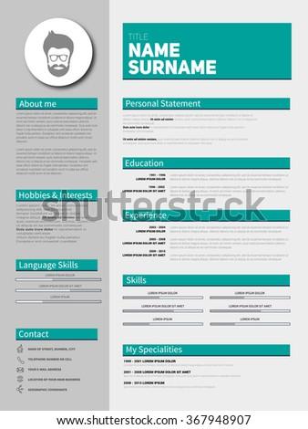 minimalist cv curriculum vitae resume vector stock vector