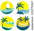 Minimalistic cute summer beach icons - stock vector