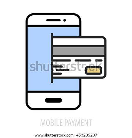 minimalistic illustration of a cellphone with a credit card, eps10 vector