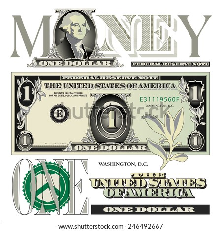 Miscellaneous one dollar bill elements