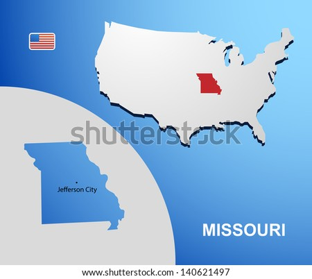 Missouri on USA map with map of the state