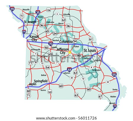 Georgia State Road Map Interstates Us Stock Vector - Us map with interstates