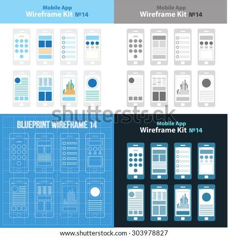 Mobile wireframe app ui kit 40 stock vector 393434266 shutterstock mobile app wireframe ui kit 14 collection mobile templates prototype layouts mockups malvernweather Gallery